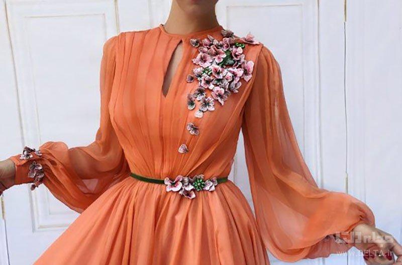 لباس مجلسی گلدار آستین دار زنانه